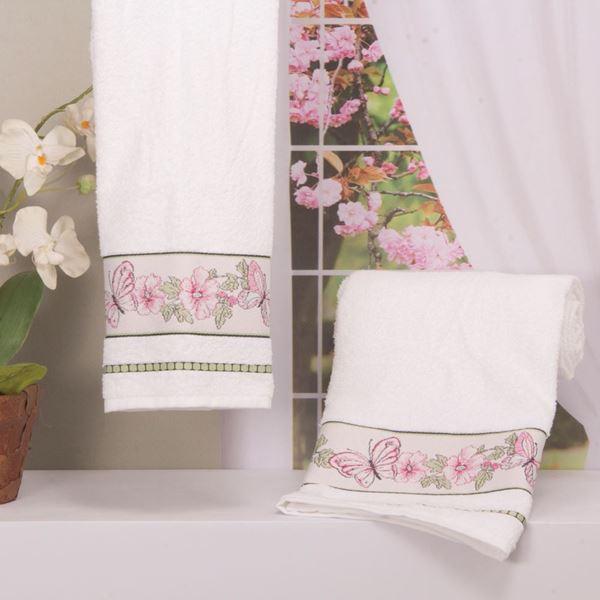 Imagem de Toalha Dolher Jacquard Premium Borboleta Banho Branco