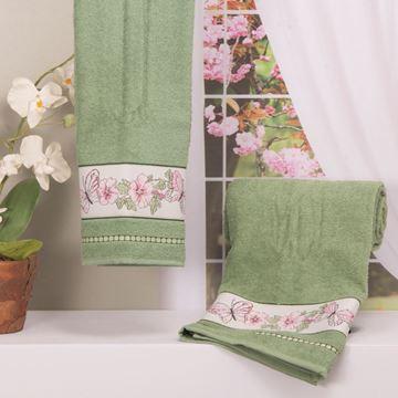 Imagem de Toalha Dolher Jacquard Premium Borboleta Banho Verde