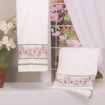 Imagem de Toalha Dolher Jacquard Premium Borboleta Rosto Branco