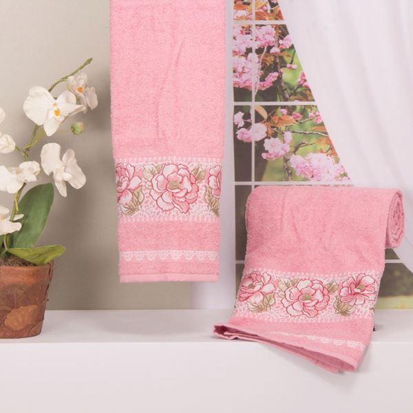 Imagem de Toalha Dolher Jacquard Premium Flor Banho Rosa