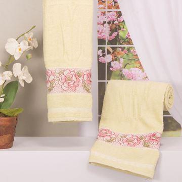 Imagem de Toalha Dolher Jacquard Premium Flor Banho Marfim