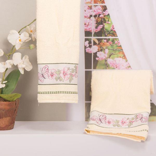 Imagem de Toalha Dolher Jacquard Premium Borboleta Banho Marfim