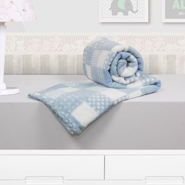 Imagem de Cobertor Baby Microfibra Camesa Patchwork Azul