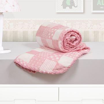Imagem de Cobertor Baby Microfibra Camesa Patchwork Rosa