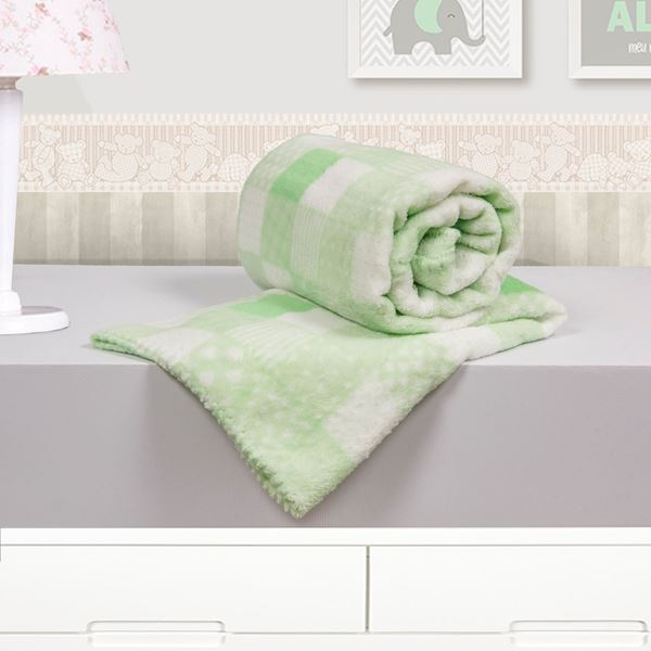 Imagem de Cobertor Baby Microfibra Camesa Patchwork Verde