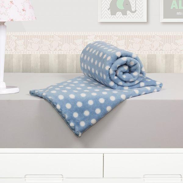 Imagem de Cobertor Baby Microfibra Camesa Poá Azul