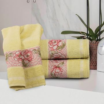 Imagem de Toalha Dolher Jacquad Premium Flor Rosto Verde