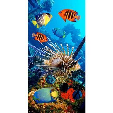 Imagem de TOALHA PRAIA VELUDO ESTAMPADO REATIVO BOUTON BANHO COLORFUL SEA FISHES