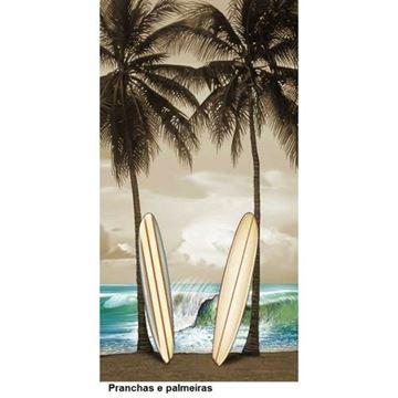 Imagem de TOALHA PRAIA VELUDO ESTAMPADO REATIVO BOUTON BANHO SURFBOARD PALM